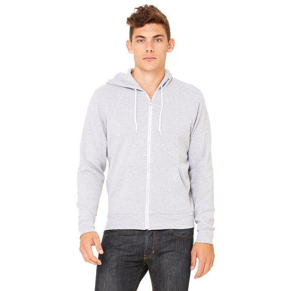 Unisex Heather Grey Poly-Cotton Fleece Full-Zip Athletic Hoodie
