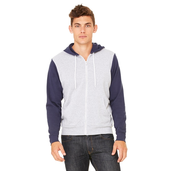Unisex Poly-Cotton Fleece Athletic Heather/Navy Full-Zip Hoodie