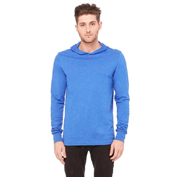 Unisex Blue Cotton Jersey Long-Sleeve Hoodie