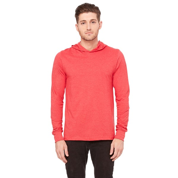 Unisex Heather Red Jersey Long-sleeve Hoodie