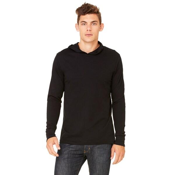 Unisex Black Jersey Long-Sleeve Hoodie