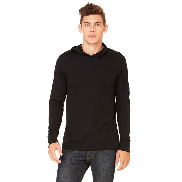 Unisex Black Cotton Jersey Long-sleeve Hoodie