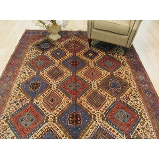 EORC Hand Knotted Wool Beige Yalameh Rug ( 6'8 x 9'5)