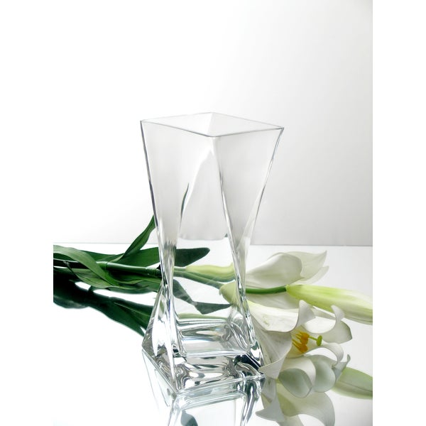 10-inch Clear Glass Block Twist Vase