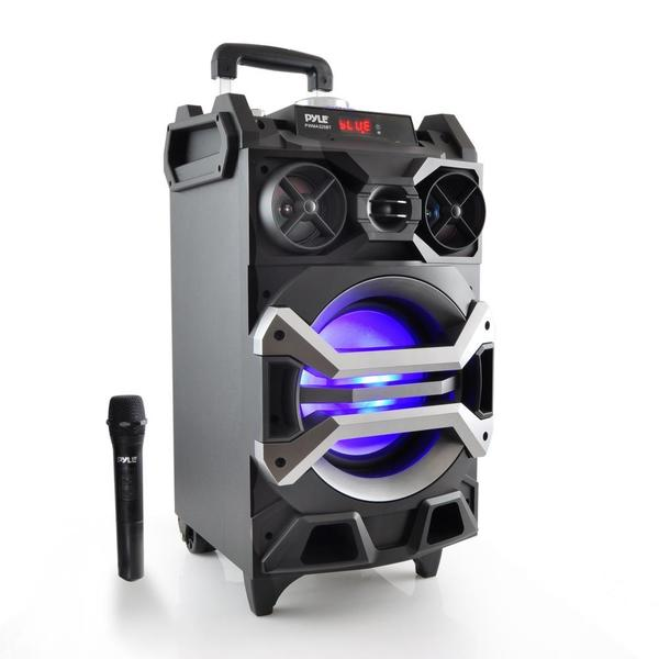 Pyle PWMA325BT Portable MP3/USB/SD/FM/Bluetooth Karaoke/PA Loudspeaker System With Flashing DJ Lights and Mic Talk Over 20014756