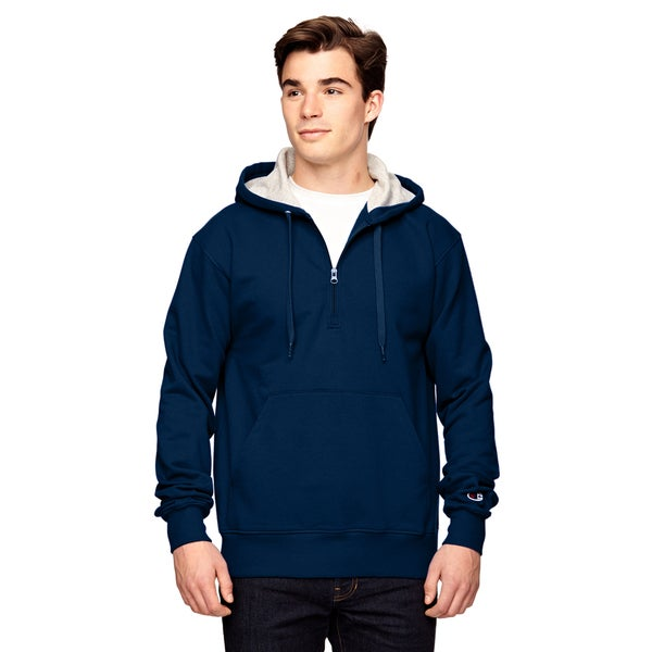Men's Big and Tall Quarter-Zip Sport Dark Navy Hooded Jacket