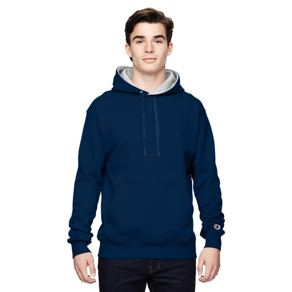 Men's Big and Tall Pullover Sport Navy/Athletic Heather Hooded Jacket