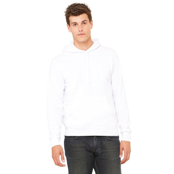 Unisex Big and Tall Poly-Cotton Fleece Pullover White Hoodie