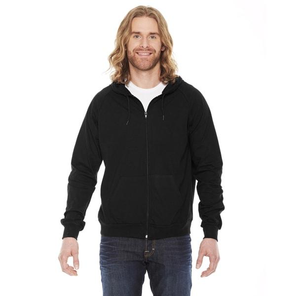 Unisex Fine Jersey Zip Black Hoodie