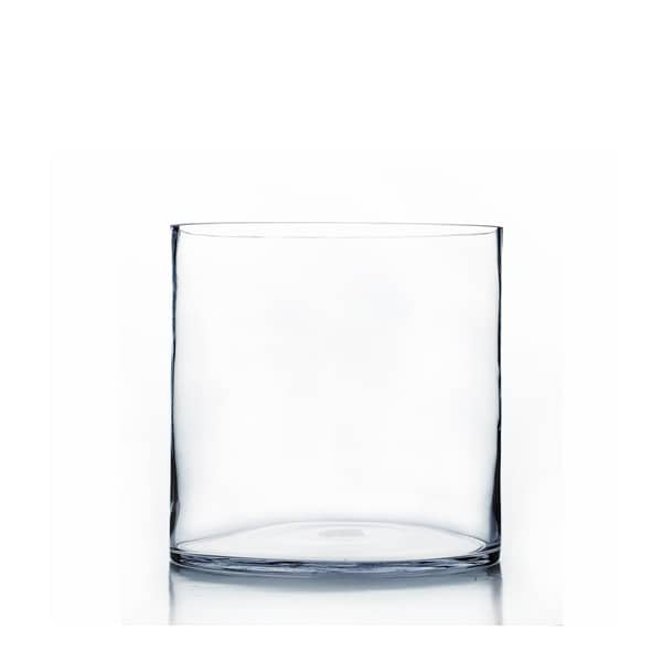Clear Glass 9-inch x 10-inch Cylindrical Vase