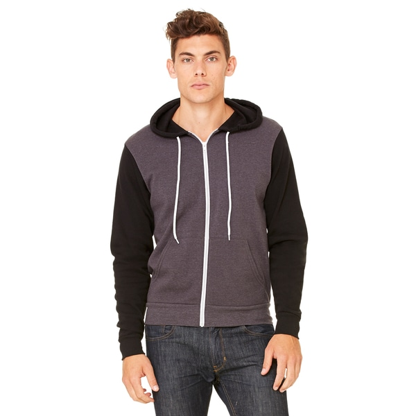 Unisex Big and Tall Poly-Cotton Fleece Full-Zip Dark Grey Heather/Black Hoodie