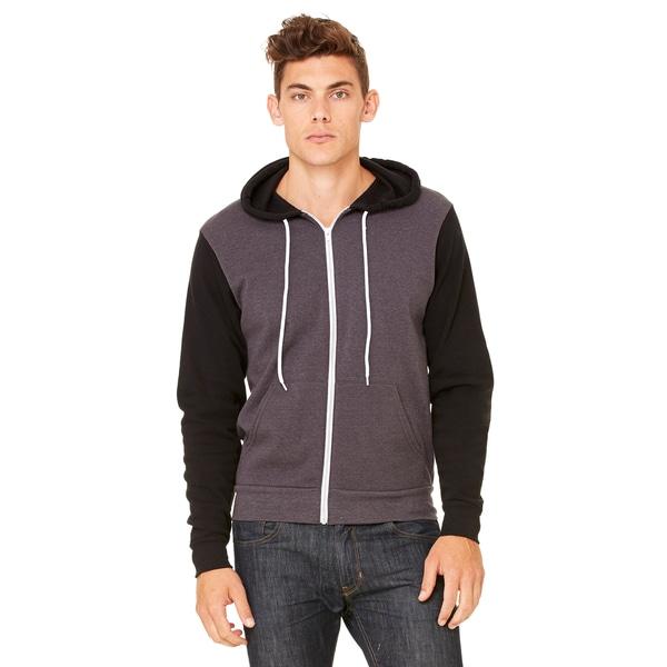 Unisex Big and Tall Poly-Cotton Fleece Full-Zip Dark Grey Heather/Black Hoodie