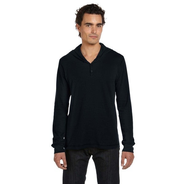Thermal Men's Long-Sleeve Henley Black Hoodie (XL)