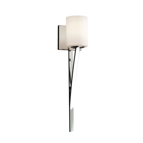 Justice Design Group Fusion Sabre Chrome Cylinder with Flat Rim Wall Sconce