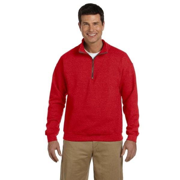 Men's Big and Tall Vintage Classic Quarter-Zip Cadet Collar Red Sweatshirt