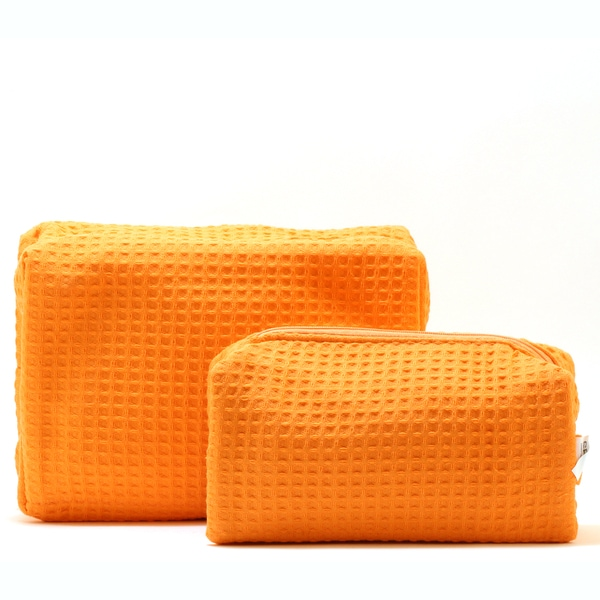 Pendergrass Spacific Waffle Tangerine Cosmetic Bag Set
