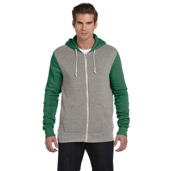 Rocky Men's Eco Grey/Eco Tru Green Colorblocked Full-Zip Hoodie