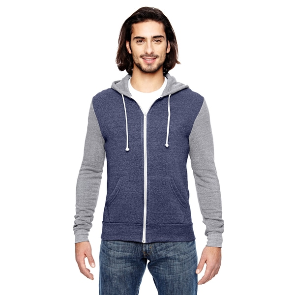 Rocky Men's Navy/Ec Grey Colorblocked Full-Zip Hoodie