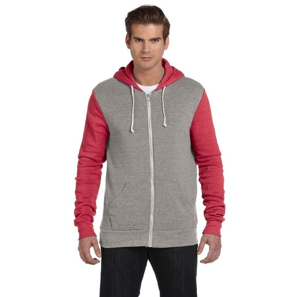 Rocky Men's Eco Grey/Eco Tru Red Colorblocked Full-Zip Hoodie (XL)