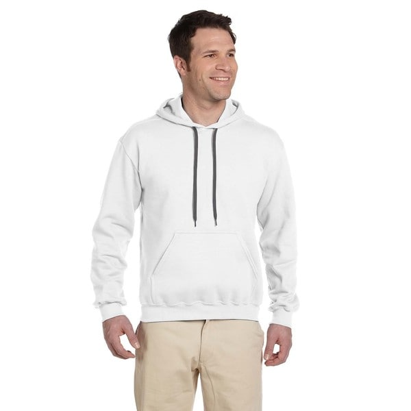Men's Ringspun Hooded White Sweatshirt