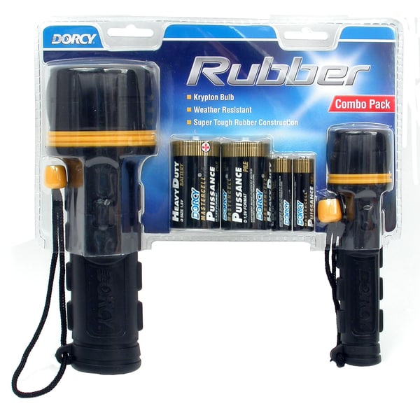 Dorcy 41-5982 2-count 2 D & 2 AA Rubber Flashlight Combo With Batteries