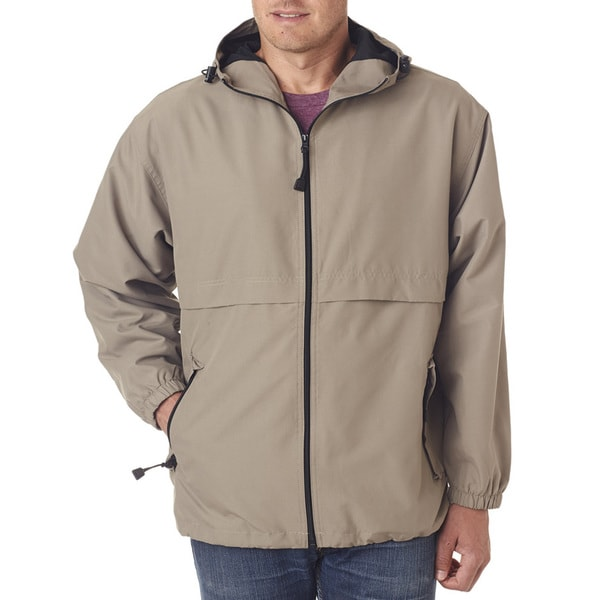 Microfiber Men's Full-Zip Tan Hooded Jacket