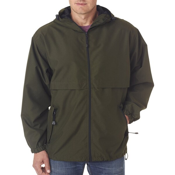 Microfiber Men's Olive Full-Zip Hooded Jacket