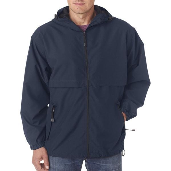 Microfiber Men's Navy Full-Zip Hooded Jacket (XL)