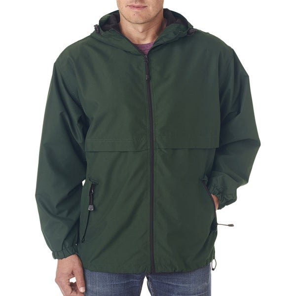 Microfiber Men's Forest Green Full-Zip Hooded Jacket