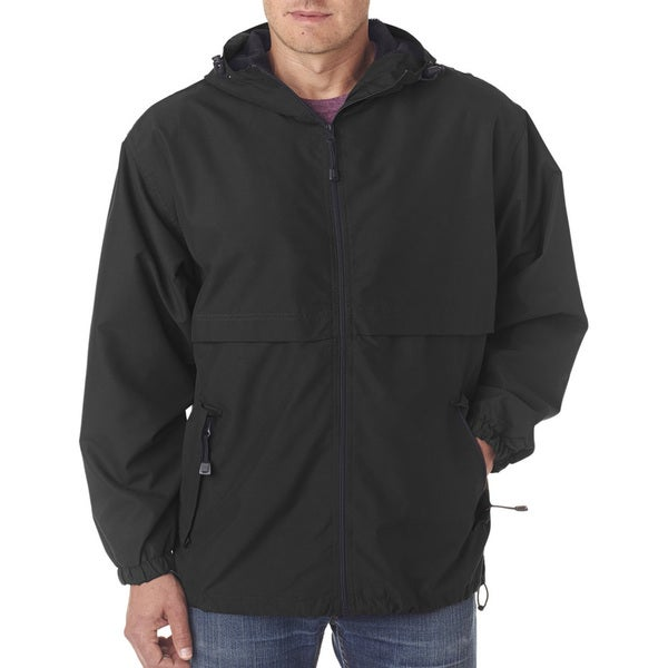 Microfiber Men's Black Full-Zip Hooded Jacket