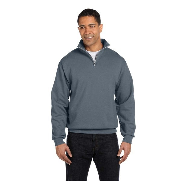 Men's Big and Tall 50/50 Nublend Quarter-Zip Cadet Collar Charcoal Grey Sweatshirt