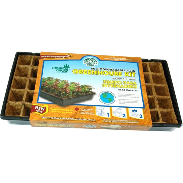 Planters Pride RZG50170 50 Fiber Grow Pot Greenhouse Starter Kit