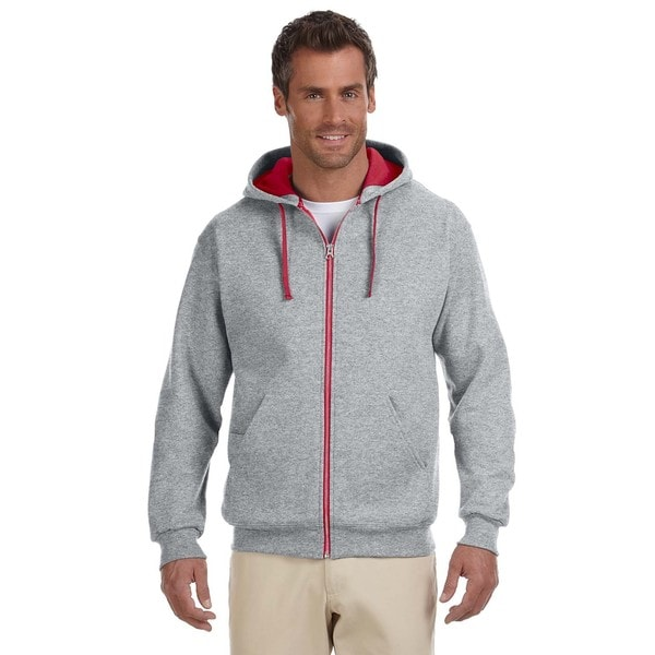 Men's Big and Tall 50/50 Nublend Contrast Oxford/True Red Full-Zip Hood
