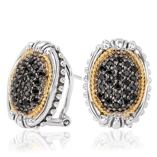 Avanti Sterling Silver and 1 1/6 CT TGW 18K Yellow Gold Black Sapphire Oval Button Earrings