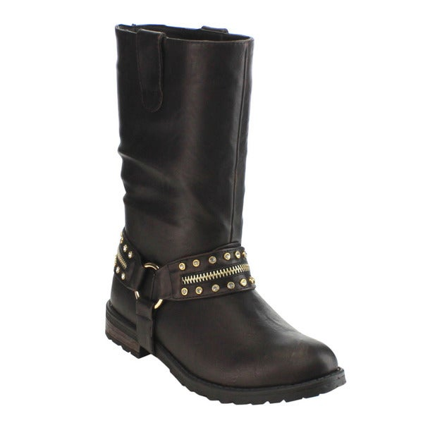 Olivia Miller Women's Black Faux-leather Pull-On Rhinestone Mid-Calf Harness Boot