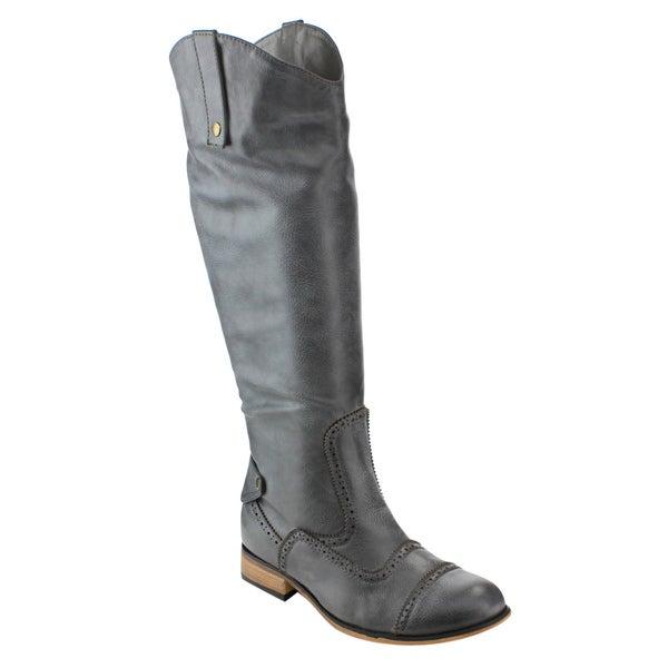 Olivia Miller FD56 Women's Semi Brogue Knee High Low Block Heel Cowboy Boot