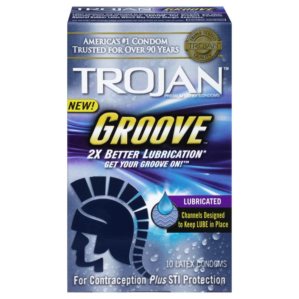 Trojan Groove Lubricated Condoms (10-count)