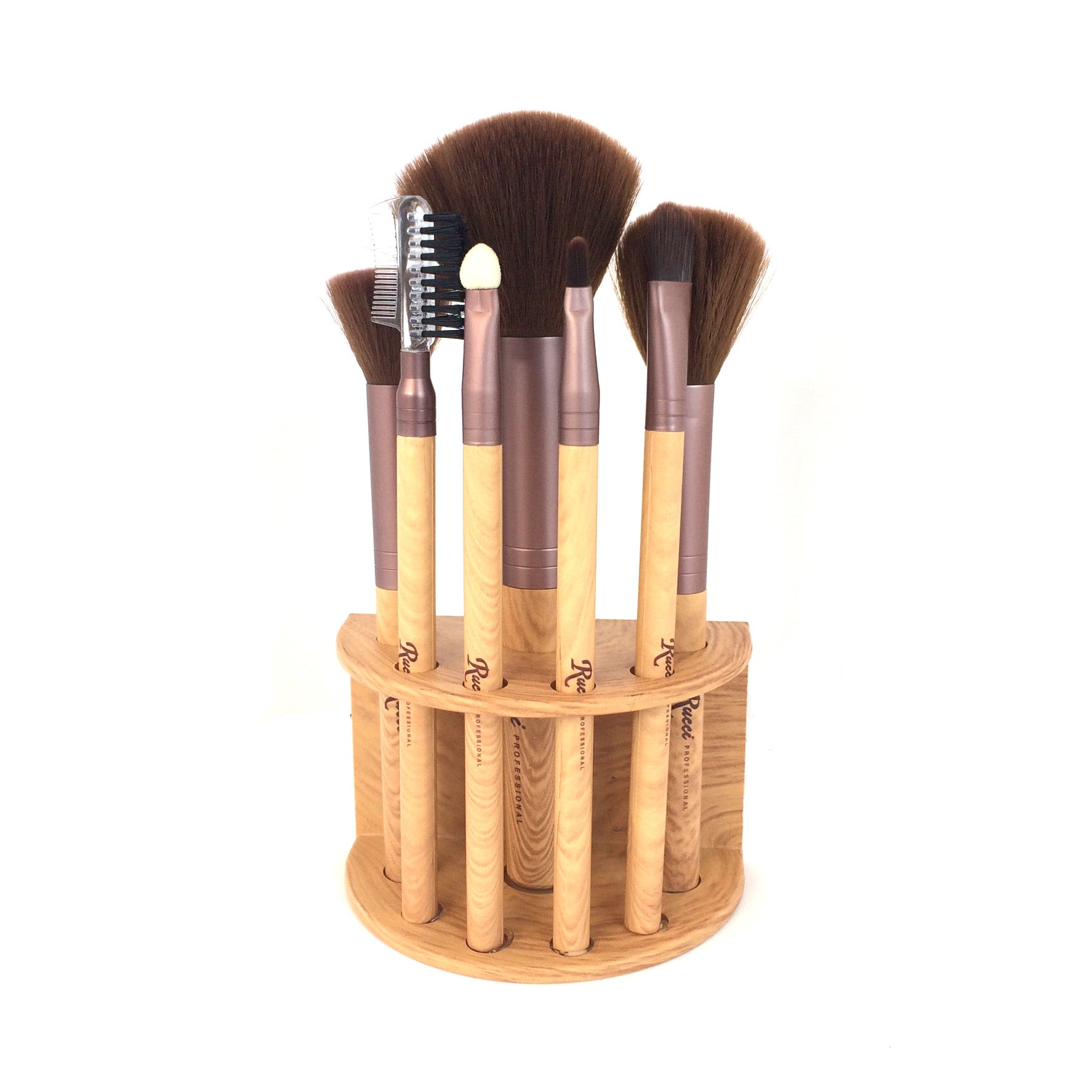 7-piece Makeup Brush Set with Pouch and Stand Holder