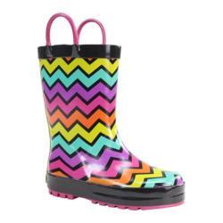 Girls' Western Chief Funny Stripe Rain Boot Black