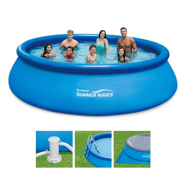 15-foot Quick Set Ring Pool with Ladder, Cover, and Pump