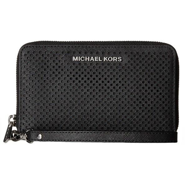 Michael Kors Jet Set Black Large Perforated Multifunction Phone Wallet