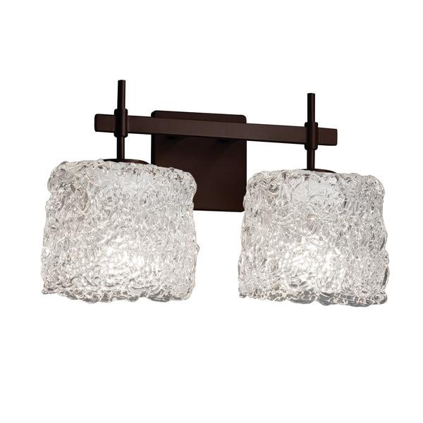 Justice Design Group Veneto Luce Union 2-light Dark Bronze Bath Bar, Lace Oval Shade 20022806