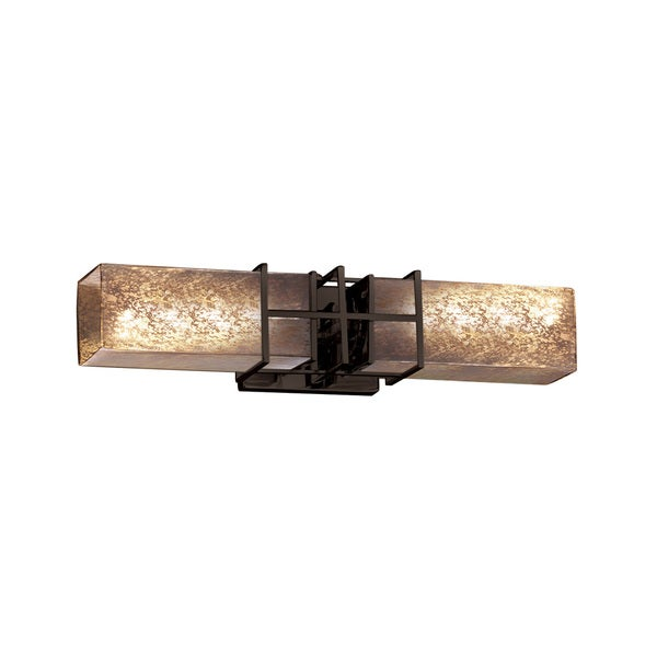 Justice Design Group Fusion Structure 2-light Bronze Bath Bar, Mercury Glass Shade
