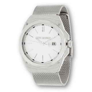 Steve Madden Men's Flat Mesh Casual Fashion Watch - Unique for Business - Silver