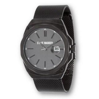 Steve Madden Men's Flat Mesh Casual Fashion Watch - Unique for Business - Black