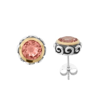 Meredith Leigh Sterling Silver and 14k Gold Morganite Quartz Scroll Earrings