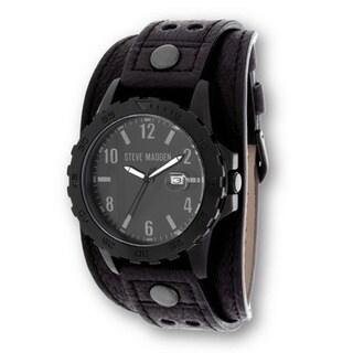 Steve Madden Black Case and Black Genuine Leather Strap Watch