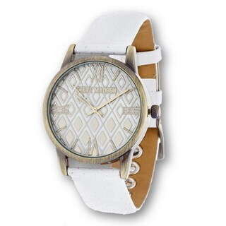 Steve Madden Gold Case Diamond Dial and White Leather Strap Watch