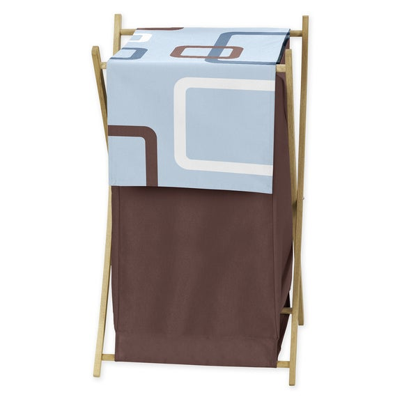 Sweet Jojo Designs Geo Collection Blue and Brown Laundry Hamper