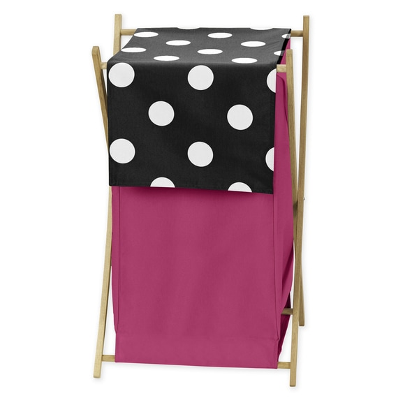 Sweet Jojo Designs Hot Dot Collection Cotton Mesh Lined Folding Laundry Hamper